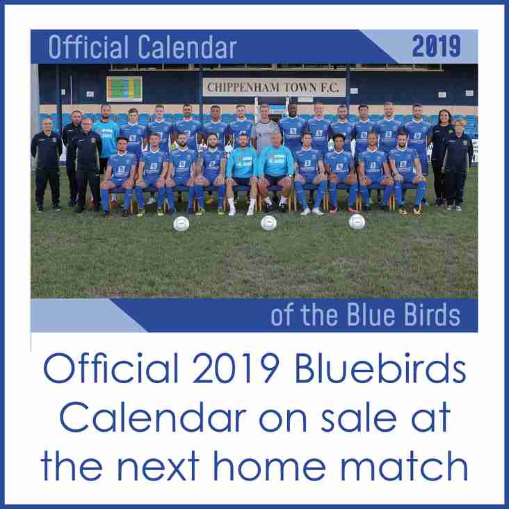 OFFICAL BLUEBIRDS 2019 CALENDAR ON SALE FROM OUR CLUB SHOP