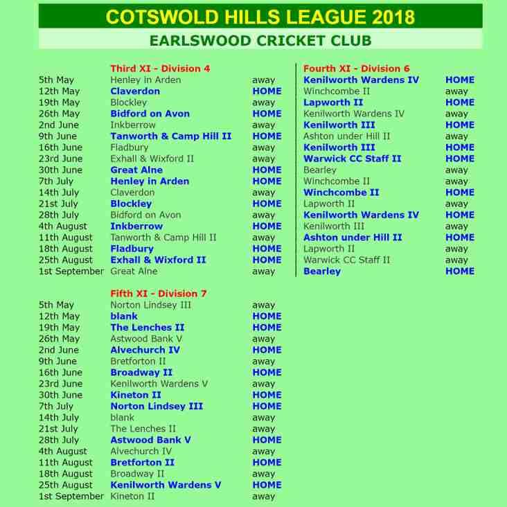 2018 Cotswold Hills League fixtures announced