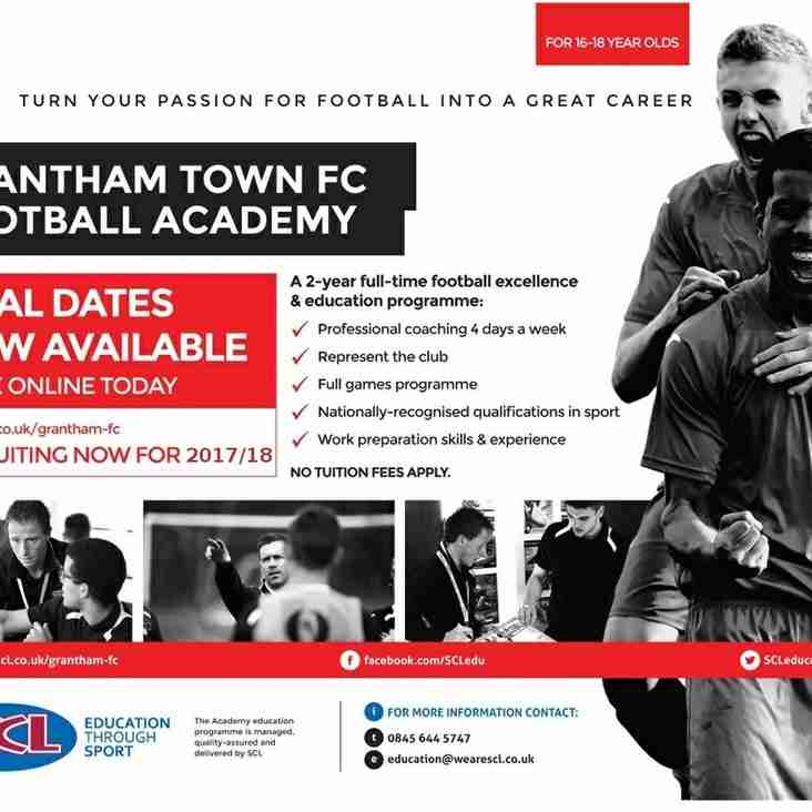 Fancy a career in football ? Join our Academy for 2017/18