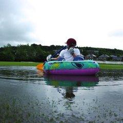 Cricket on water at Broad Oak