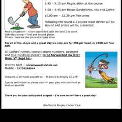 Annual Golf Day rearranged for Friday 23rd September