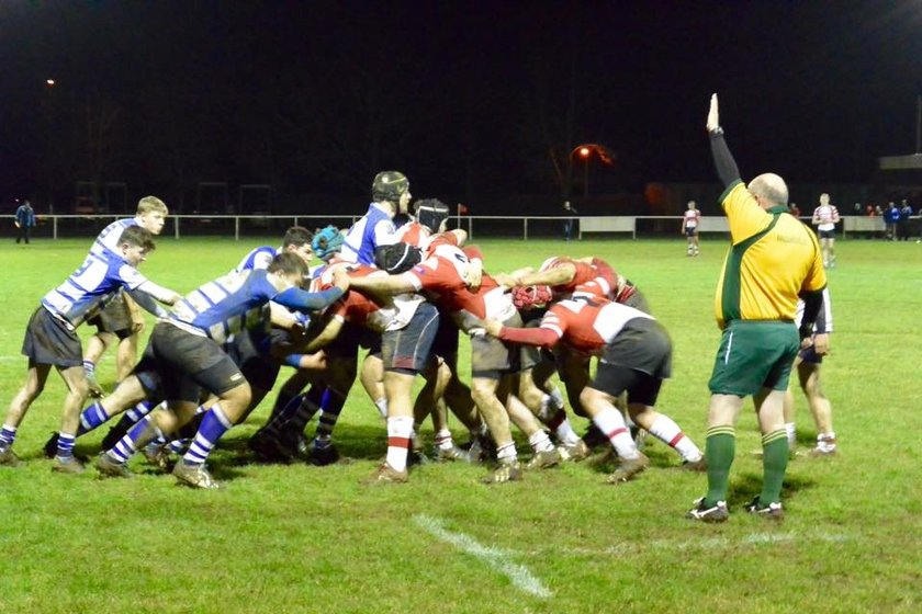 Friday night rugby under floodlites at Cut Throat Lane
