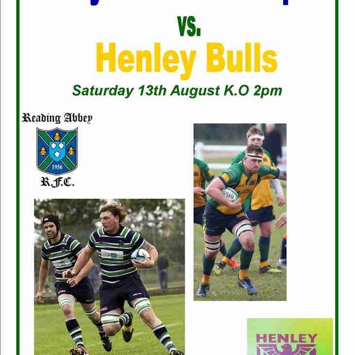 Abbey 1st XV Squad vs Henley Bulls Saturday 13 August 2pm KO