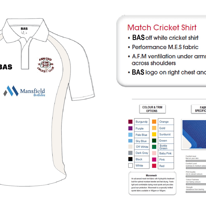 Limited special offer: Ashford CC playing shirt for £10