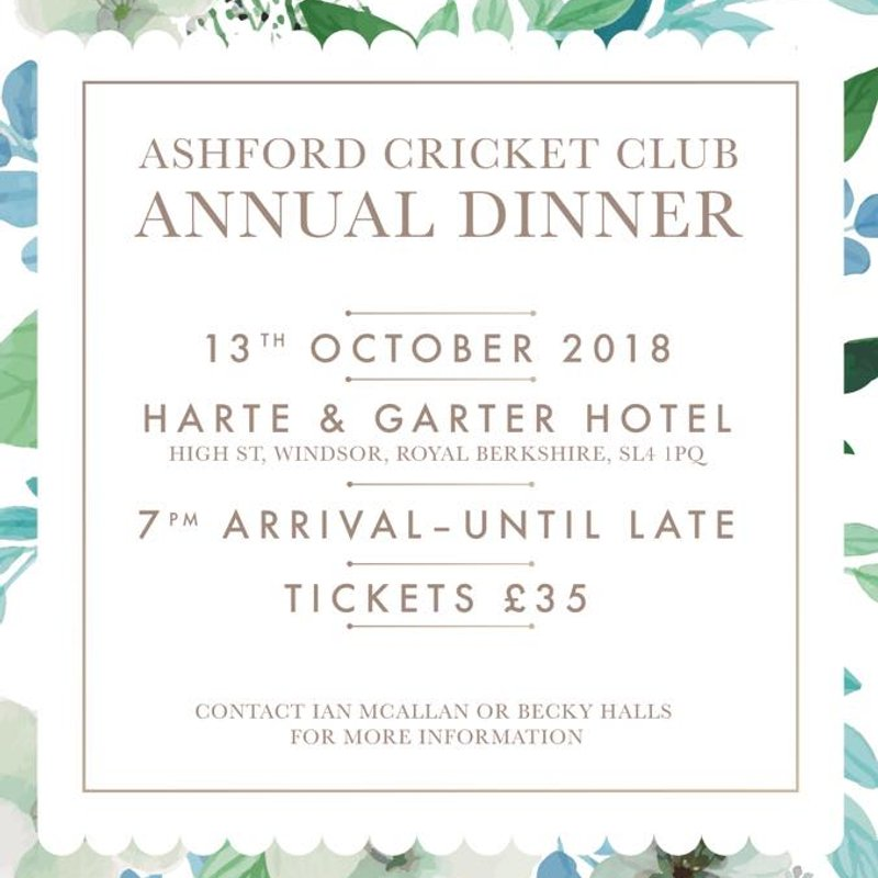 Annual Dinner Update: Saturday 13 October