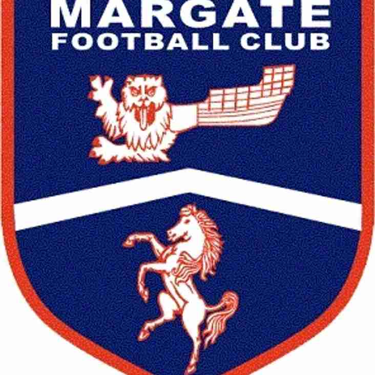 Next friendly Saturday 23rd July away versus Margate, kick off 3pm
