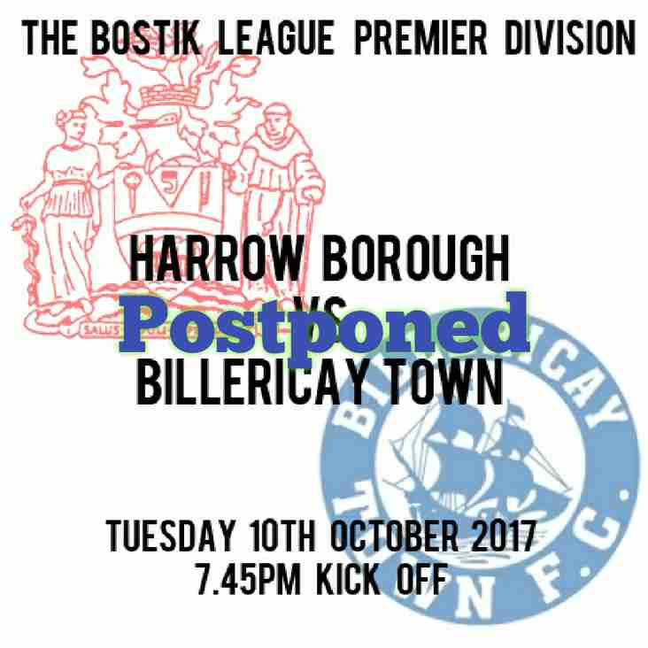 Billericay game on Tuesday  Postponed.