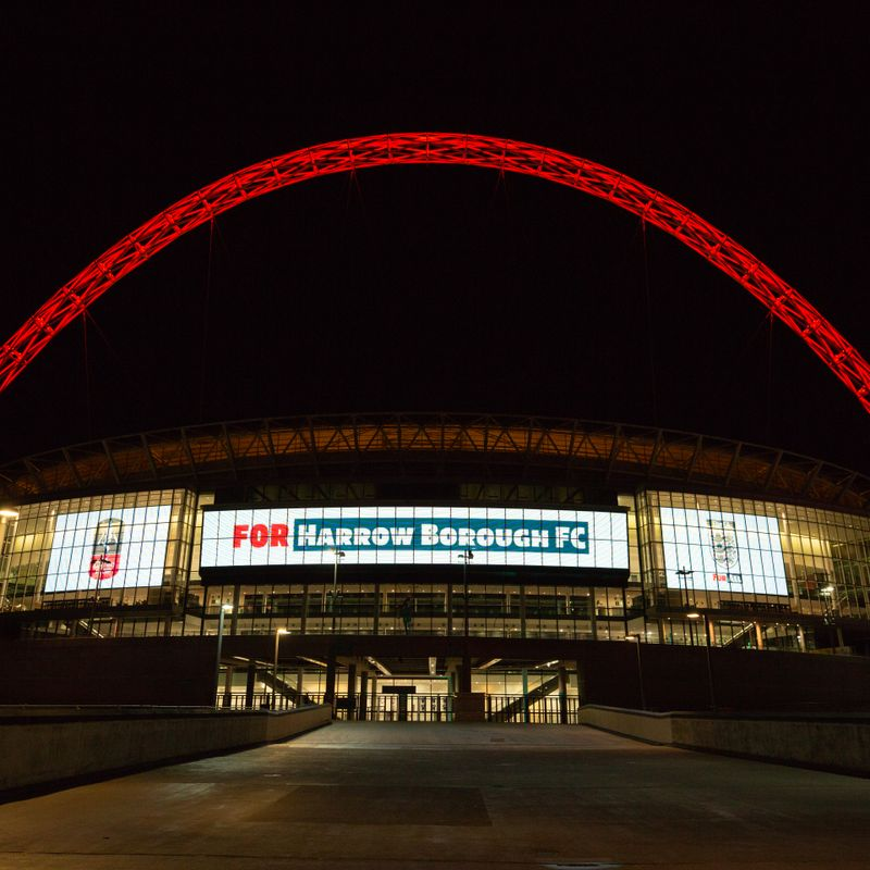 Wembley Stadium lights up 'For All' Emirates FA Cup clubs