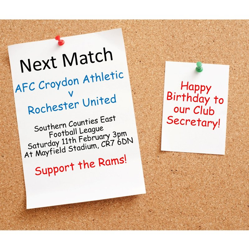 Match Preview - League Matchday 26 v Rochester United