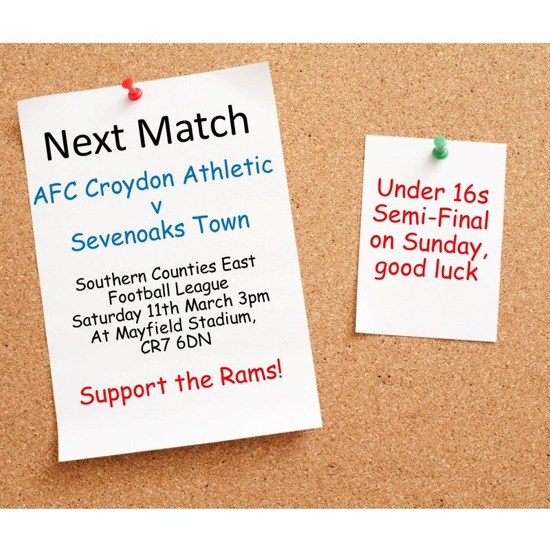 Match Preview - League Matchday 30 v Sevenoaks Town