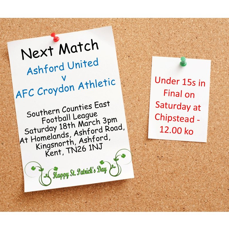 Match Preview - League Matchday 31 at Ashford United