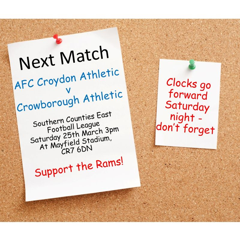 Match Preview - League Matchday 32 v Crowborough Athletic