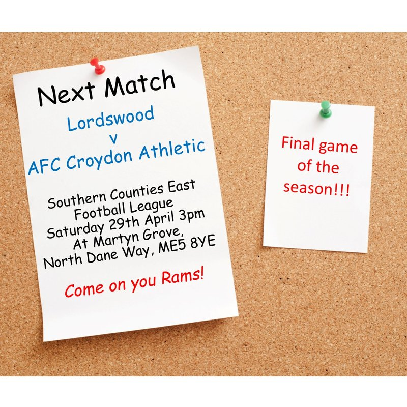 Match Preview - League Matchday 38 at Lordswood