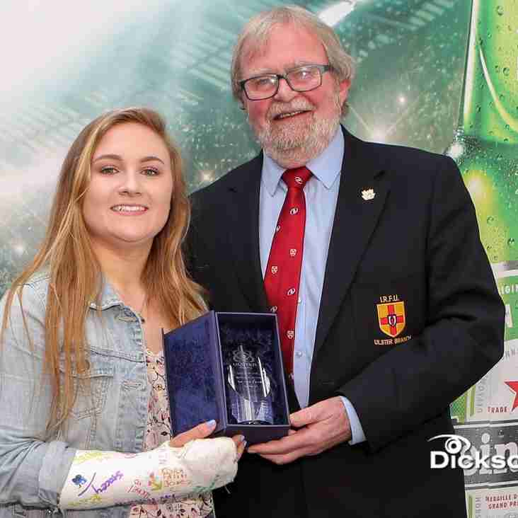 Neve Jones (Malone RFC) wins the Ulster U18 Girls Player of the Year.
