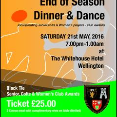 Dinner Dance 21st May 7pm til late