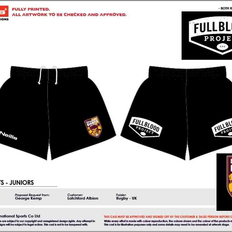 Club shorts (own team sponsor or plain on back)