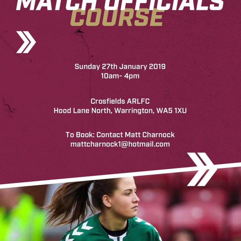 Match officials course  - Warrington