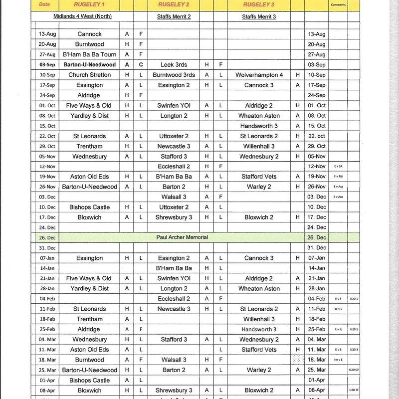 Team Fixtures 2016/17