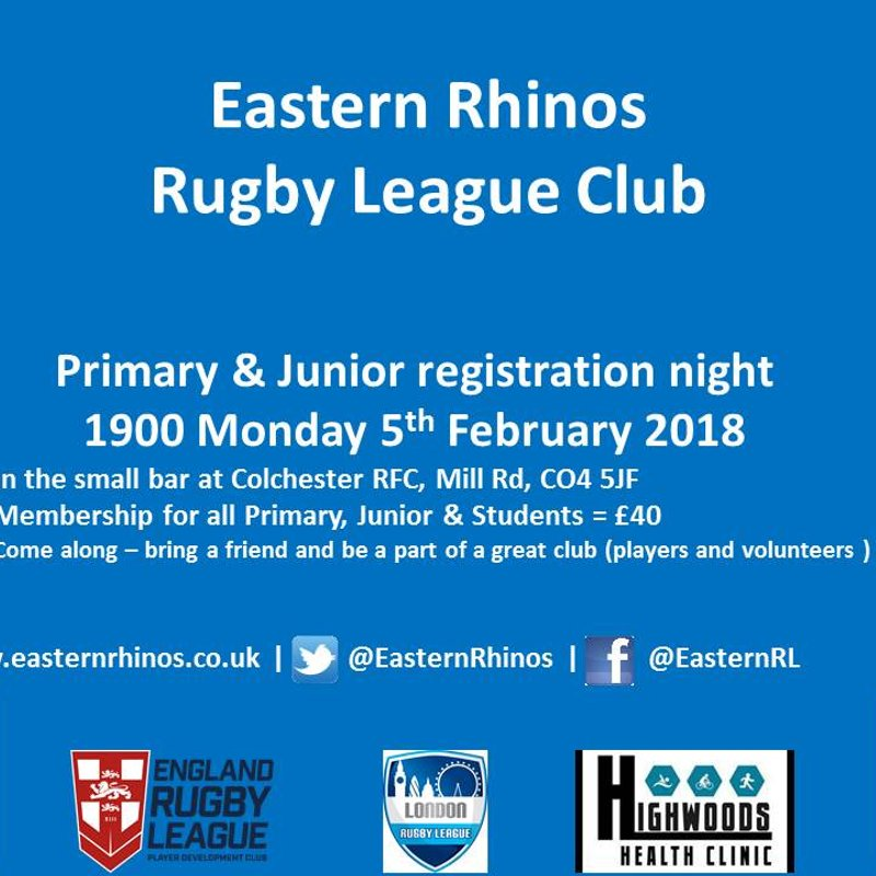 2018 Season junior registration night