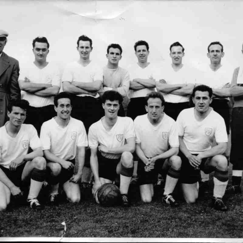 Totton FC - Reserves Rear Row, Left - Right: Frank Nutbeam, Tommy Cooper, Laurie Martin, Bob Amey, Unknown, Don Ward, Den Batten, Jack Green. Front Row, Left - Right: Unknown, ? Amey, Ross Spicer, ? Batten, Unknown.