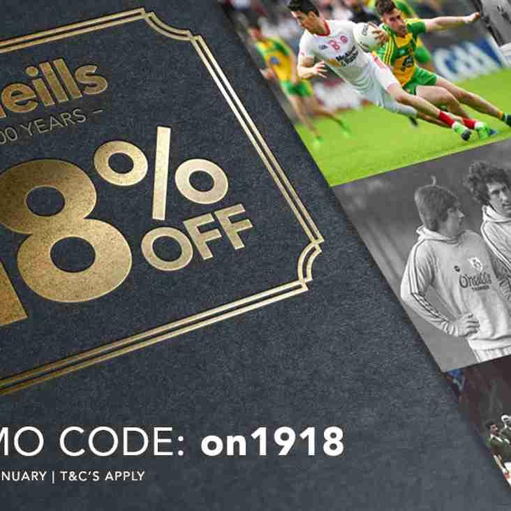 O'Neill's sale 18% off - go to club shop link