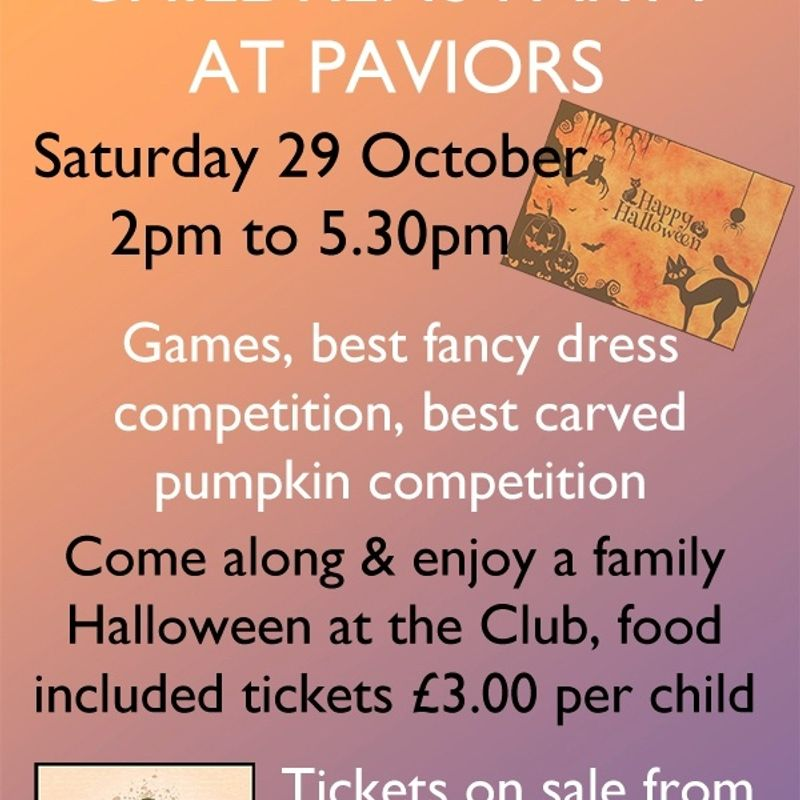 HALLOWEEN CHILDRENS PARTY - SATURDAY 29 OCTOBER