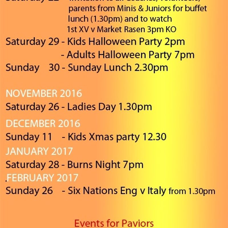 EVENTS SCHEDULE 2016-17