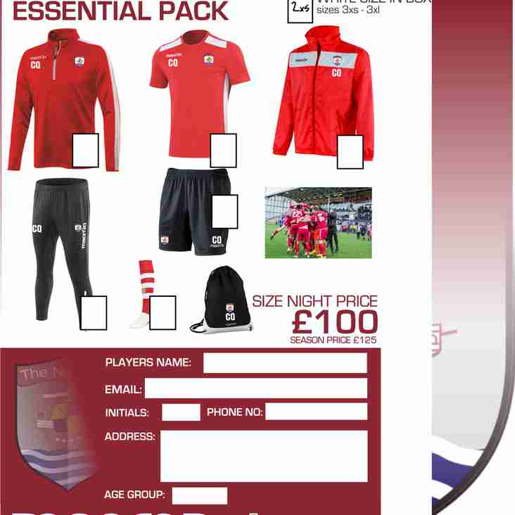 Academy Macron Kit Sizing and Signing On Night Monday 15th and Tuesday 16th May 2017.