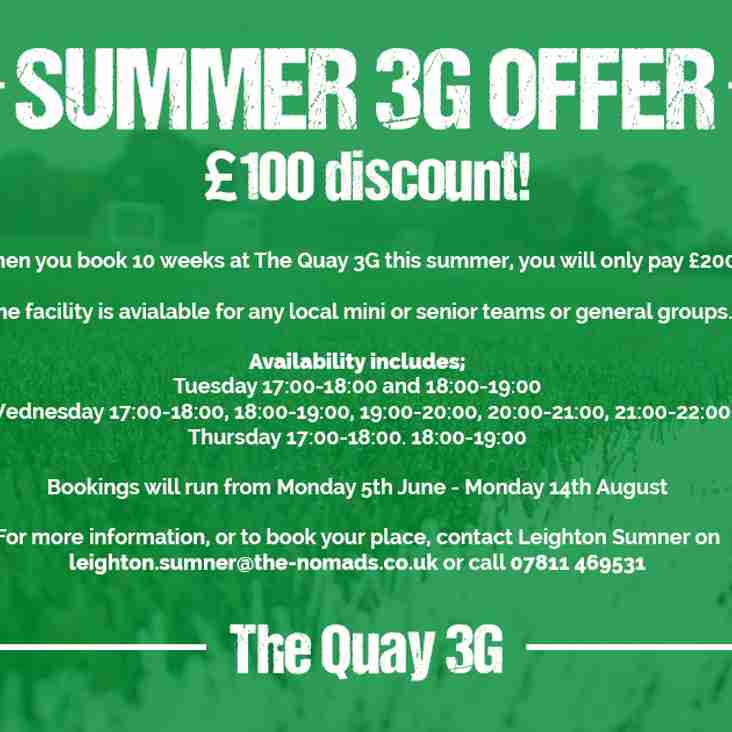 Quay 3G Summer Pitch Availability for just £20 a week!