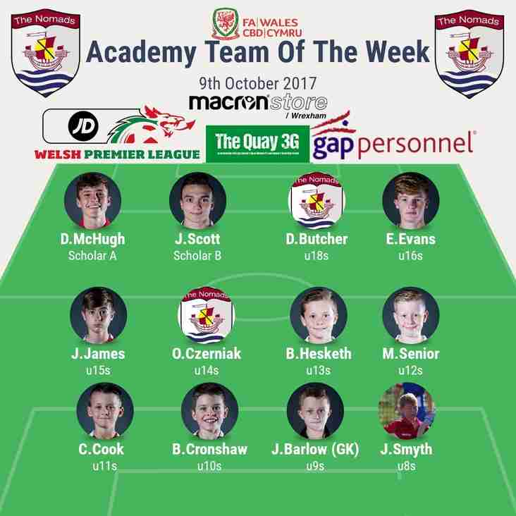 Academy Team of the Week - Monday 9th October 2017.
