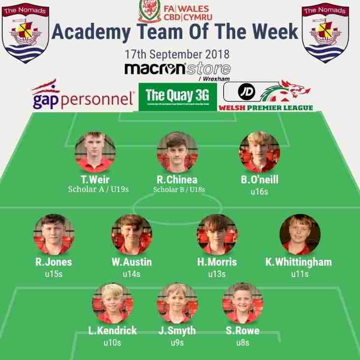 Academy Team of the Week - Monday 17th September 2018