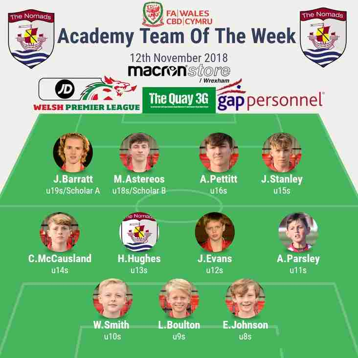 Academy Team of the Week - Monday 12th November 2018
