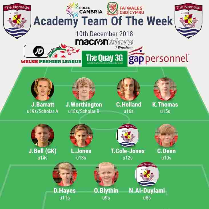 Academy Team of the Week - Tuesday 11th December 2018