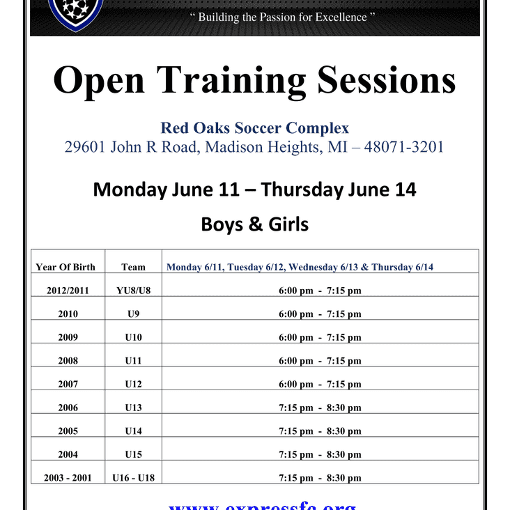Express FC Open Training Schedule