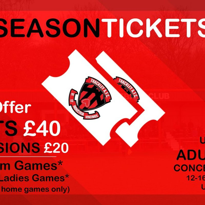 Special Early Bird Offer on Thackley AFC Season Tickets.