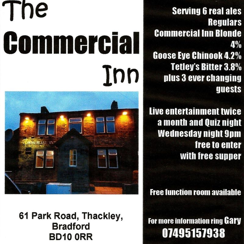 The Commercial Inn - Thackley AFC Shirt Sponsor.