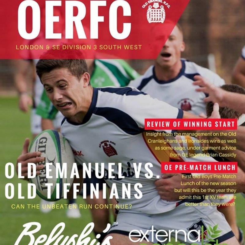 Old Emanuel v Old Tiffinians Match Day Programme  - 7 October 2017
