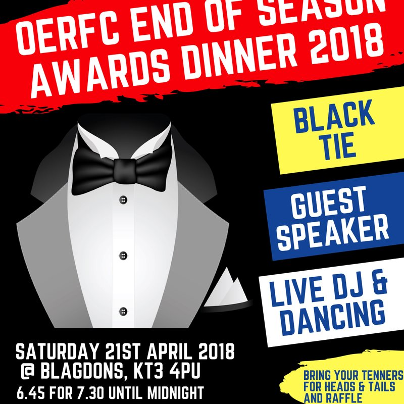 End of Season Dinner - Saturday 21st April