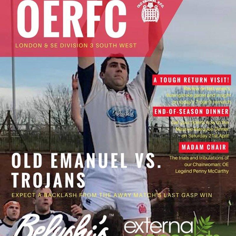 Old Emanuel v Trojans Match Day Programme Saturday 17 February 2018