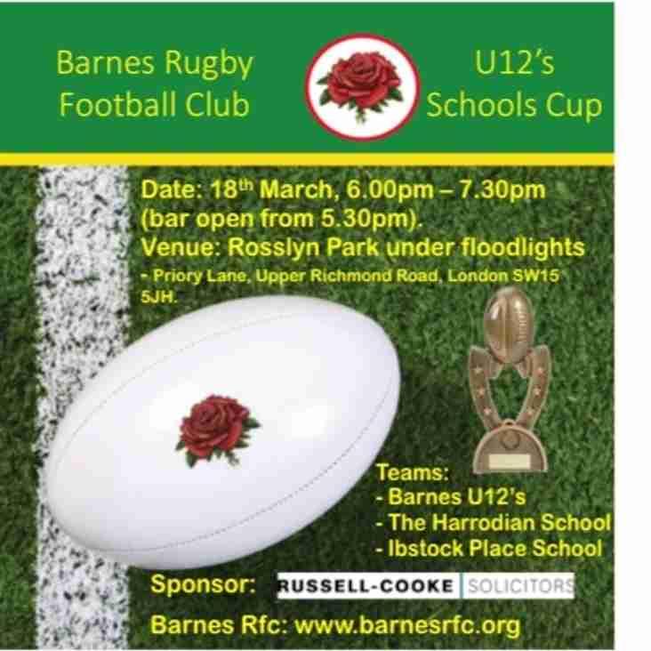 Barnes Rfc U12's Schools Cup