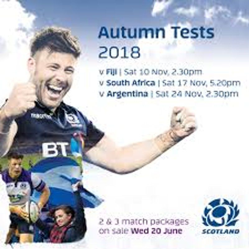 Autumn Test Tickets - 2018/19