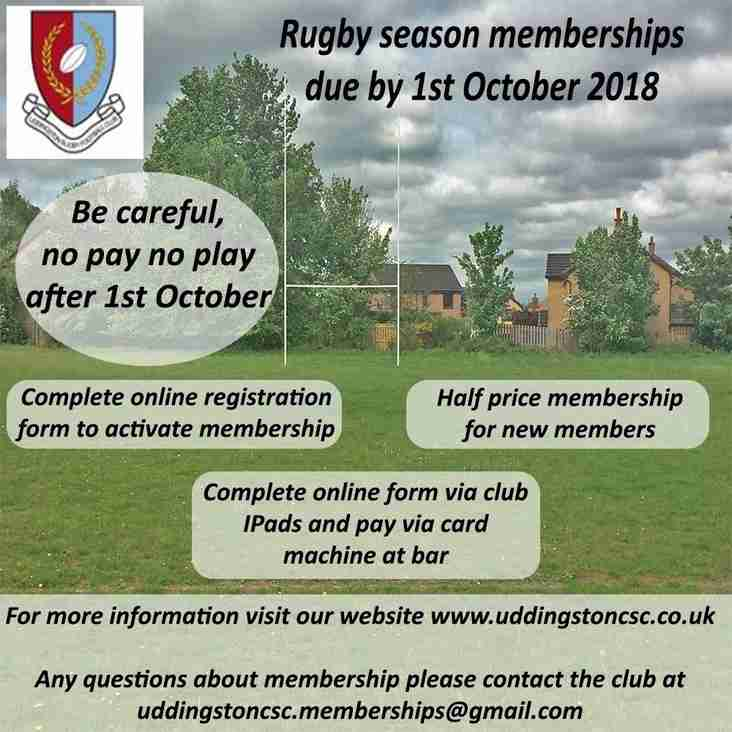 Membership Fees Must be Paid by 1st October