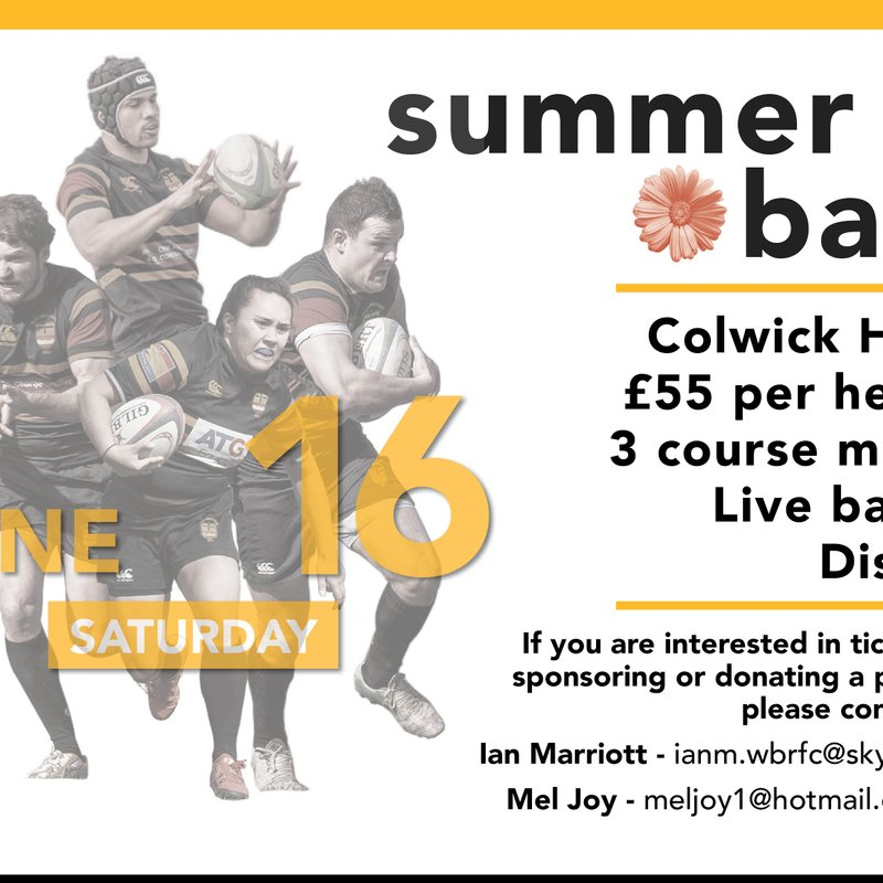 Bookings now open for WBRFC - Summer Ball