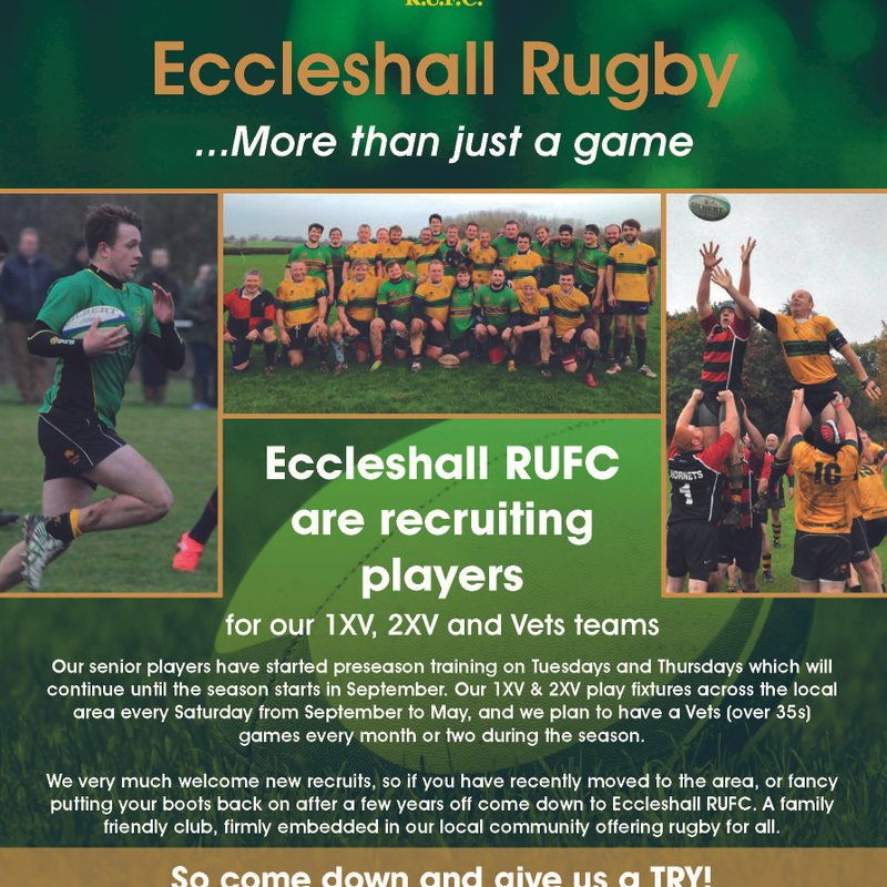 WE ARE RECRUITING SENIOR PLAYERS - SO COME JOIN ERUFC