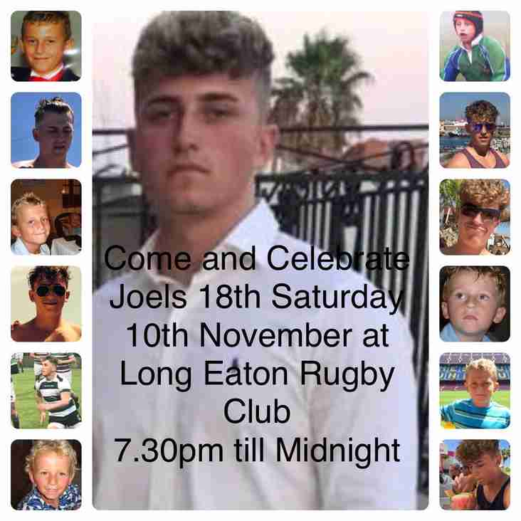 Joels 18th Birthday Partry - Clubhouse Sat 10th Nov