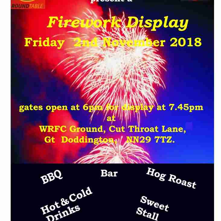 2018 Wellingborough RFC and Wellingborough Round Table Annual Fireworks Display.
