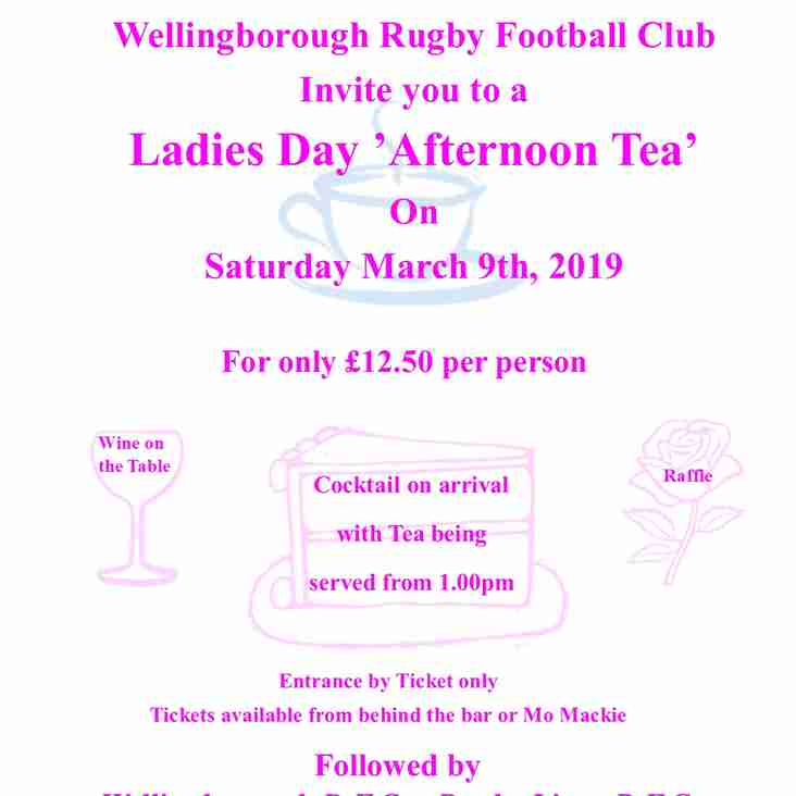 Ladies Day 'Afternoon Tea' Saturday 9th March 2019