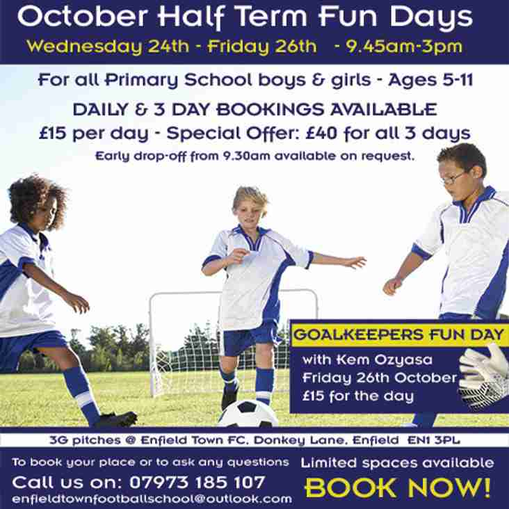 Half Term Football Fun Days Are Back!  - Book Now!