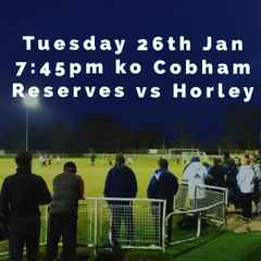 Tuesday 26th Jan - Reserves match POSTPONED