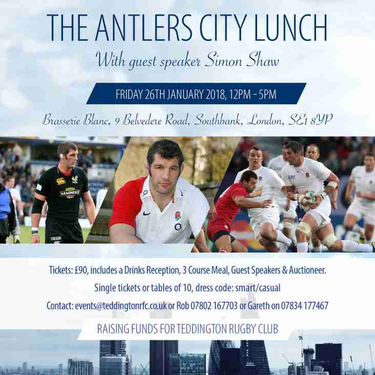 Final call for The Antlers City Lunch 2018 - with Guest Speaker Simon Shaw